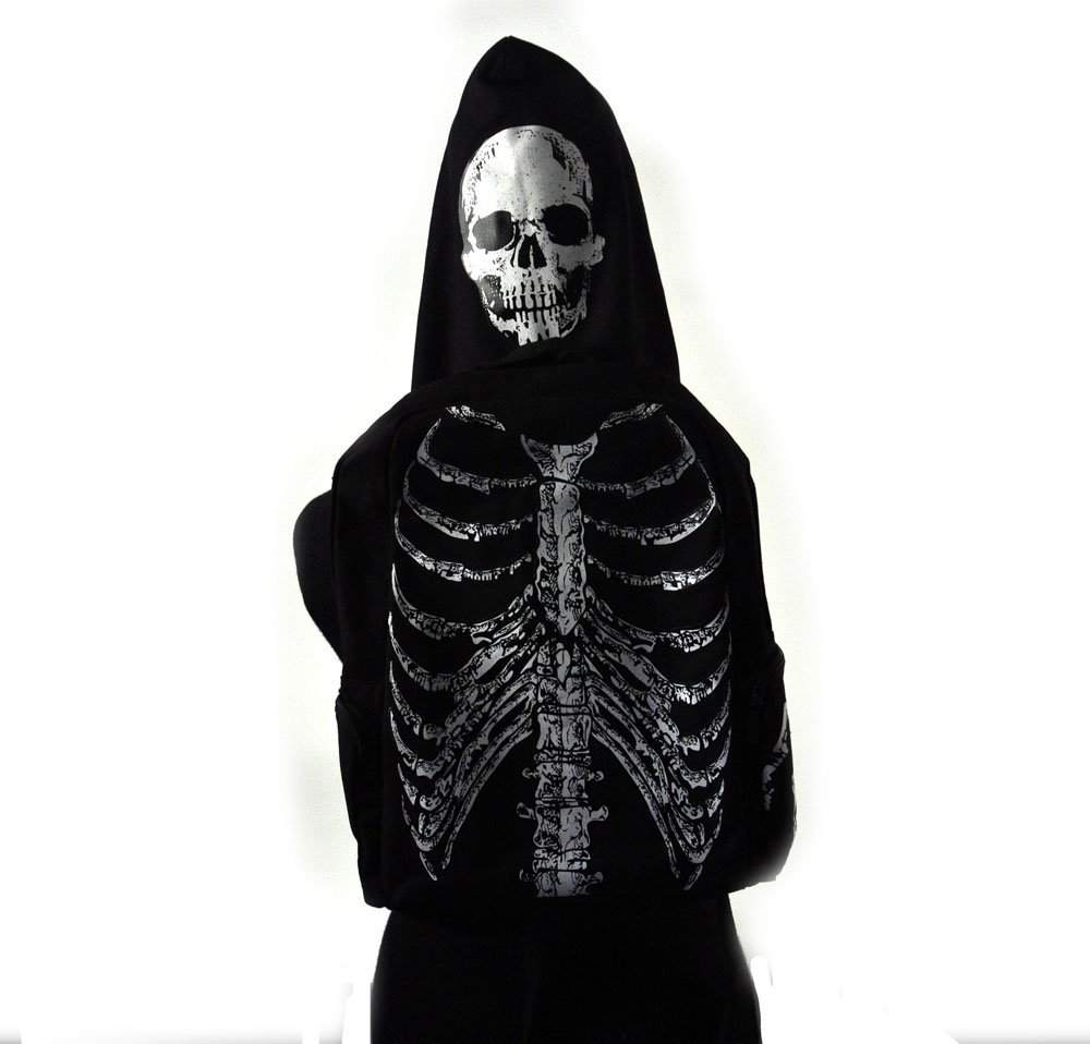 Ghost hunters backpack with skull hood and skeleton back gift idea